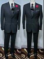 Canali Saks Fifth Avenue Black & White Pinstripe Super 120'S Wool 2-pc 48R Suit