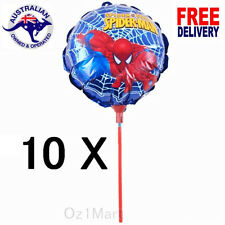 10X Spider Man Round Foil Handheld Balloons 17Cm with Stick Birthday Party