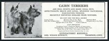 1919 Cairn Terrier 2 dogs photo Connecticut dog breeder vintage print ad
