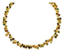 Tourmaline Necklace Amber Green Brown Yellow Cluster Chain 14k gold fill 18 19