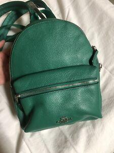 "NWT COACH Mini Charlie Pebble Leather Backpack Green Leather 8x9x4"""