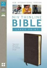 NIV, Thinline Bible, Large Print, Bonded Leather, Brown, Red Letter Edition