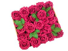 US 50pcs Fuchsia Artificial Flowers Foam Roses Decoration DIY for Wedding Party