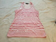 Almost Famous Pink And White Sequin Top