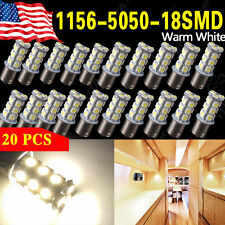 20 Pcs 1156 BA15S 18-LED RV Camper Trailer Interior Light Bulbs Warm White 4300K