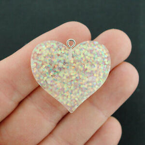 2 Heart Charms Glitter Resin With Silver Tone Loop 2 Sided White Opal - K282