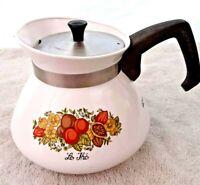 "Vintage 6 C CORNING WARE Coffee Tea Pot P-104 SPICE OF LIFE 5.5"" x 6"" SS Lid"