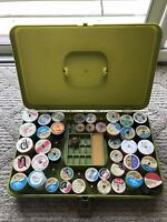 Vintage Olive Green Sewing Box Wilson USA With Thread Lily, J & P Coats, Talon