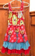 Mustard Pie Girls Dress Sz 2T Red Blue Ruffles Flowers So Cute Rare