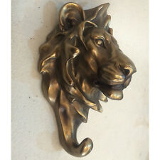 LION Bronzo Muro Appendiabiti Scultura Statua Arte Contemporanea Animale