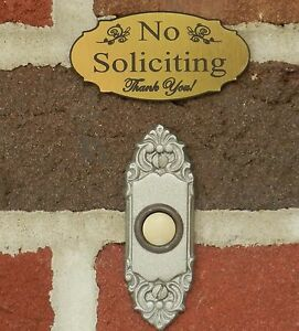 Small Elegant No Soliciting Sign Doorbell Sign, Brushed Gold - FREE SHIPPING
