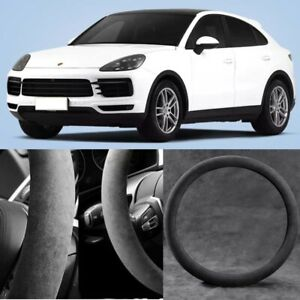 For Porsche Cayenne Black Alcantara Suede Car Steering Wheel Cover Accessories