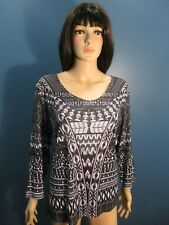 Plus Size 1X black/white PRINTED LONG SLEEVE blouse by JANE ASHLEY