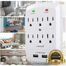 Fosmon [ETL Listed] Surge Protector Wall Tap Adapter 6 Outlet w/ 2 Dual USB Port