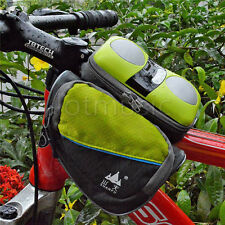 Triangle Bicycle Frame Pannier Stereo Speaker Saddle Front Tube Bags Green