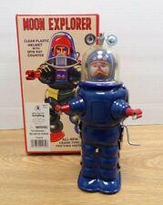 "BLUE Retro Moon Explorer 7"" Tin Robot Figure w Box TR2019/2020 122920DBT"