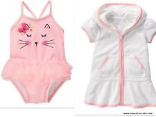 NEW GYMBOREE  BABY ROSEBUD KITTY SWIMSUIT AND COVERUP 12-18 MONTHS