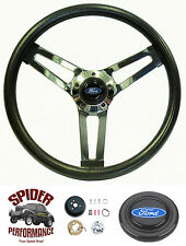 "1963 1964 Fairlane Galaxie steering wheel BLUE OVAL 14 1/2"" SHALLOW DEPTH"
