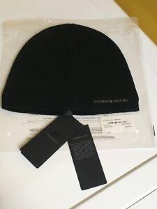 NEW AUTHORIZED/LICENSED PORSCHE DESIGN WOOL/ACRYLIC BEANIE HAT IN BLACK. UNUSED