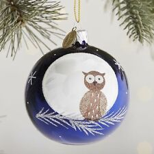 EUROPEAN GLASS OWL AND MOON ORNAMENT,  NEW, SNOWFLAKES, CHRISTMAS, GLITTER