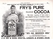 ORIGINAL OLD FRY'S COCOA BRAND ANTIQUE ADVERT 1890 BABY SITS ON TIN OF COCOA
