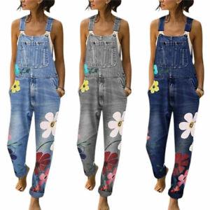 Women Floral Denim Dungarees Jeans Overalls Jumpsuit Pockets Trousers Pants Size
