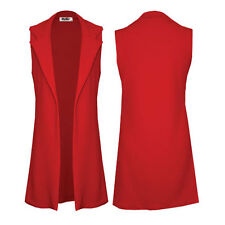 Womens Ladies Longline Sleeveless Duster Blazer/ Jacket
