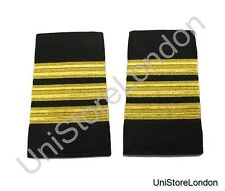 Epaulet Pilot Epaulette Sliders 3 Gold Mylar Bars First Officer Black R1292