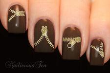 Gold Zip Nail Wraps Art Water Transfer 20pcs Decal So Beautiful ST8090