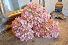 Bunch of 3 Antique Pink Faux Silk Hydrangeas, Realistic Artificial Silk Flowers