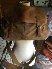Large men's fabric and leather shoulder work uni bag