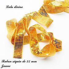 Ruban / Galon séquin paillette de 25 mm, vendu au mètre : Jaune