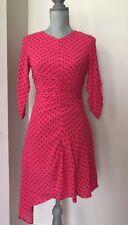 b46a248190 New Zara Pink Fuchsia Gathered Polka Dot Dress size XS 0 7385 116