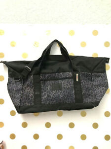 Victoria's Secret PINK Large Weekender Duffle Bag Travel Tote Gray Leopard NWT