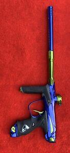 Dye Matrix Dm15 Paintball Marker - Polished Blue / Lime Green - Billy Wing Bolt