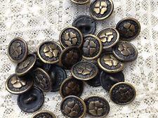 LOTTO 6 MINI bottoni gioiello FIORE QUADRIFOGLIO vintage ANNI 60 BUTTONS BOUTON