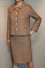 M~L Brown Off White Plaid Vtg 50s 2pc Jack Feit Dress Suit Pencil Skirt Jacket