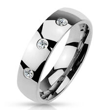4mm 3 Cz Set Classic Dome 316L Stainless Steel Wedding Band Women's Ring