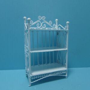 Dollhouse Miniature White Wire Metal Ornate Bookcase in White EIWF116