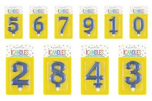 Metallic Metallic Blue Birthday Cake Number Candles Cake Topper Party CANDLE