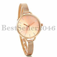 Ultra Thin Big Dial Stainless Steel Mesh Bracelet Womens Quartz Wrist Watch Gift