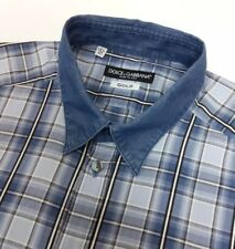 Dolce & Gabbana Gold Mens Shirt Blue Flannel Denim Check 15 ¾ - 40cm New RRP£265