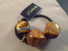 NWT L ERICKSON FRANCE LUXE Tigers Eye Triple Stone Ponytail Hair Holder Crystals