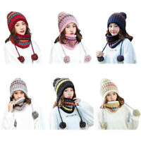 2Pcs Scarf Hat Set Women Winter Warm Pompoms Knitted Beanie Cap And Scarves US