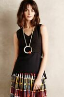 ANTHROPOLOGIE HD IN PARIS BLACK EYELET PEPLUM BLOUSE NWOT! $88 L