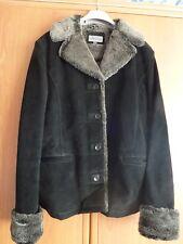 Joie De Vivre Black Jacket Faux Far Real Suede Size 16