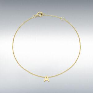 "Genuine 9ct Gold Women's Petite Initial Adjustable Bracelet 15cm/6"" - 18cm/7.25"