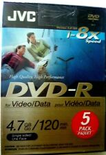 JVC 1-8X speed DVD-R  5 Pack New with Case Factory Sealed