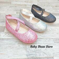 Toddler Girls Ballet Flat Glitter Dress Shoes Size 7-12 New