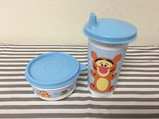 Tupperware Bell Tumbler w/ Snack Cups Sippy Cup Tigger Set Of Two New